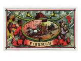 Firemen Brand Cigar Box Label, Firemen with Hoses Art