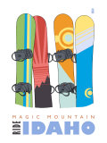 Magic Mountain, Idaho, Snowboards in the Snow Prints by  Lantern Press