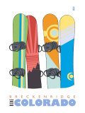 Breckenridge, Colorado, Snowboards in the Snow Prints by  Lantern Press