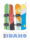 Sun Valley, Idaho, Snowboards in the Snow Prints by  Lantern Press