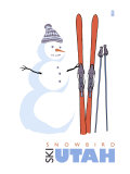 Snowbird, Utah, Snowman with Skis Posters by  Lantern Press