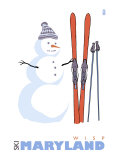 Wisp, Maryland, Snowman with Skis Prints by  Lantern Press