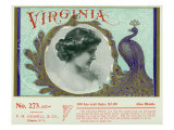 Virginia Brand Cigar Box Label, Peacock with Feathers Art