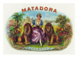 Matadora Brand Cigar Inner Box Label, Lady with Lions Posters