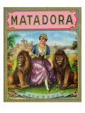 Matadora Brand Cigar Outer Box Label, Lady with Lions Prints