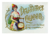 Drummer Queen Brand Cigar Inner Box Label, She Can't Be Beat Posters