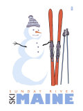 Sunday River, Maine, Snowman with Skis Art by  Lantern Press