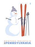 Montage Mountain, Pennsylvania, Snowman with Skis Prints by  Lantern Press