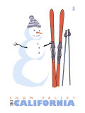 Snow Valley, California, Snowman with Skis Print by  Lantern Press
