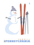 Sawmill, Pennsylvania, Snowman with Skis Art by  Lantern Press