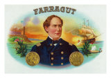 Farragut Brand Cigar Box Label, David Farragut, Admiral in US Navy Prints
