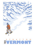 Stylized Snowshoer, Stratton, Vermont Prints by  Lantern Press