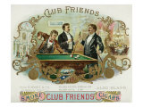 Club Friends Brand Cigar Box Label, Billards Print