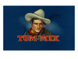 Tom Mix Brand Cigar Box Label, Famous Western American Actor Art