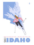 Brundage Mountain, Idaho, Stylized Skier Art