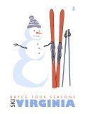Bryce Four Seasons, Virginia, Snowman with Skis Prints