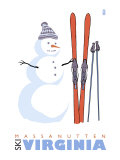 Massanutten, Virginia, Snowman with Skis Print by  Lantern Press