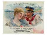 Hard A'Port Brand Cigar Box Label, Navy Posters by  Lantern Press