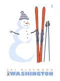 Ski Bluewood, Washington, Snowman with Skis Prints by  Lantern Press