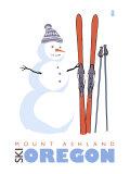 Mount Ashland, Oregon, Snowman with Skis Print