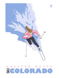 Crested Butte, Colorado, Stylized Skier Posters