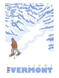 Stylized Snowshoer, Stowe, Vermont Posters by  Lantern Press