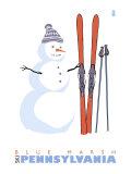 Blue Marsh, Pennsylvania, Snowman with Skis Prints
