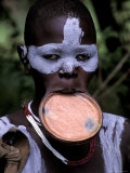 Surma Tribesmen with Lip Plate, Ethiopia Photographic Print by Gavriel Jecan