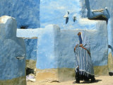 Traditional Blue Woven, Brocade Shawl of Siwa, Egypt Photographic Print by Alexander Nesbitt