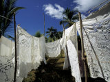 Traditional Embroidered Table Clothes and Bed Sheets, Madagascar Photographic Print by Michele Molinari