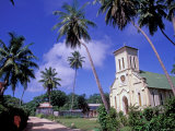 St. Mary's Church and Palm Trees, Seychelles Photographic Print by Nik Wheeler