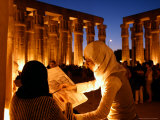Drawing Classes for Women in the Temple of Thebe Area, Egypt Photographic Print by Michele Molinari