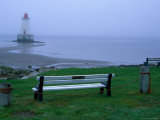 Sandy Point Lighthouse on a Foggy Morning, Nova Scotia, Canada Lámina fotográfica por Julie Eggers