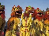 Lion dance performance celebrating Chinese New Year Beijing China - MR Photographic Print by Keren Su