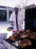 Cooking in a Jerk Hut, Jamaica, Caribbean Photographic Print by Greg Johnston