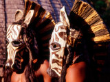 Zulu Zebra Masked Dancers, South Africa Photographic Print by Claudia Adams