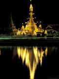 Wat Chong Klang and Reflection in Chong Kham Lake, Thailand Photographic Print by John & Lisa Merrill