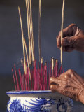 Burning Incense for Luck, Vietnam Photographic Print by Keren Su