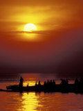 Boat at Sunset on Lake Tanganyika, Tanzania Photographic Print by Kristin Mosher