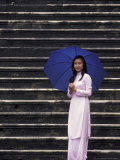 Girl With Umbrella on Stone Steps of Tomb of Khai Dinh, Vietnam Photographic Print by Keren Su