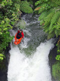 Kayak in Tutea's Falls, Okere River, New Zealand Photographic Print by David Wall