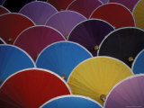 Colorful Umbrellas at Umbrella Factory, Chiang Mai, Thailand Photographic Print by Claudia Adams
