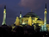 Aya Sofya (Sancta Sophia) at night, Istanbul, Turkey Photographic Print by Keren Su