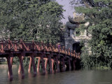 Wooden Bridge, Swan Lake, Hanoi, Vietnam Photographic Print by Keren Su