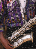 Man's Traditional Dress and Saxophone, Antigua, Guatemala Photographic Print by John & Lisa Merrill