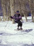 Woman Telemark Skiing Photographic Print by Lee Kopfler