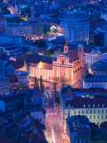 Presernov Trg Square, View from Castle Hill, Ljubljana, Slovenia Photographic Print by Walter Bibikow