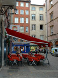 Cafe on Cobblestone Street, Rhone-Alps, Lyon, France Photographic Print by Lisa S. Engelbrecht
