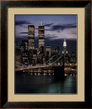 World Trade Center with Brooklyn Bridge Poster