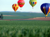 Colorful Hot Air Balloons Float over a Wheat Field in Walla Walla, Washington, USA Photographic Print by William Sutton